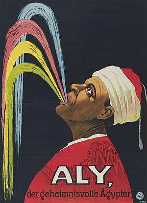 "Hadji Ali - 1913 Adolph Friedländer company poster; the German-language caption translates as ""Ali, the mysterious Egyptian"""