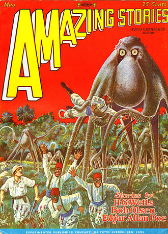"""Fletcher Pratt - Pratt's's novelette """"The Octopus Cycle"""" was the cover story in the May 1928 Amazing Stories"""