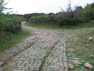 Via Domitia Roman road linking Italy and Hispania through Gallia Narbonensis