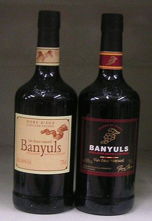 English: Two different bottles of Banyuls fort...
