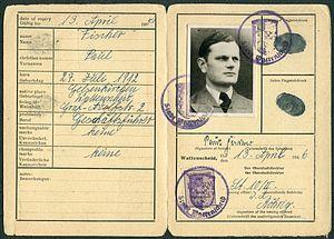 Amtsdokument Paul Fischer 1946 Geschäftsführer Identity Card Personalausweis Stadt Wattenscheid Seite 2 und 3 Karl Busch.jpg