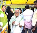 An elderly woman voter displaying identity card after cast her vote, at a polling booth, during the fifth phase of West Bengal Assembly Election, at Kolkata Port constituency of Kolkata South on April 30, 2016.jpg
