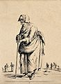 An old ragged woman is leaning on a stick. Etching by Jean D Wellcome V0020417EL.jpg