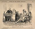 An unsympathetic doctor giving a patient a prescription, tel Wellcome V0011543.jpg