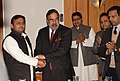 Anand Sharma in a delegation level talk with the Chief Minister of Uttar Pradesh, Shri Akhilesh Yadav, on the sidelines of the Partnership Summit 2013, in Agra on January 28, 2013.jpg