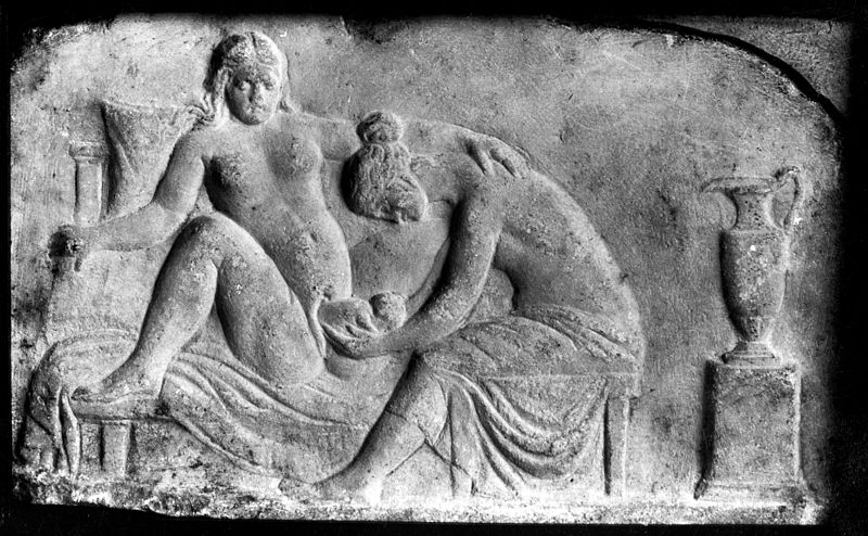 File:Ancient Roman relief carving of a midwife Wellcome M0003964EB.jpg