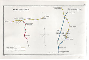 Didcot, Newbury and Southampton Railway - A 1913 Railway Clearing House map showing (right) railways in the vicinity of Winchester