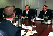 Peacock and Minister of Defense John Moore at the Pentagon in 1999