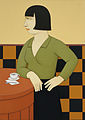 "Andrew Stevovich oil painting, Nadine with Espresso, 1998, 24"" x 17"".jpg"
