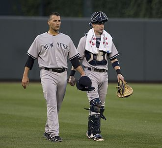 2013 New York Yankees season - Andy Pettitte and Chris Stewart on September 11, 2013.