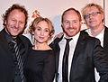 Anja Lundqvist med Sören Olsson, Morgan Alling och Anders Jacobsson på Guldbaggegalan 2013.jpg