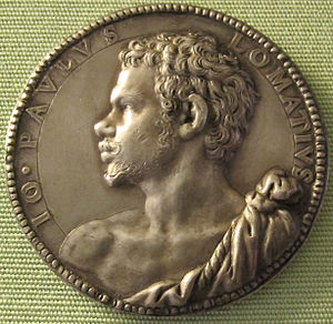 Gian Paolo Lomazzo - Lomazzo depicted on a medallion by Fontana