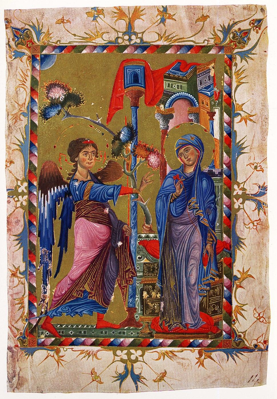 Annunciation from 13th century Armenian Gospel