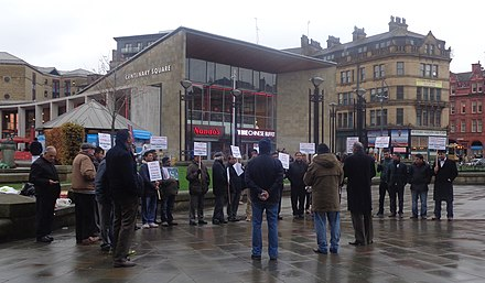 Anti-Pakistani blasphemy law protest in Bradford, England (2014). Anti-Pakistani blasphemy law protest, Centenary Square, Bradford (8th November 2014) (cropped).JPG