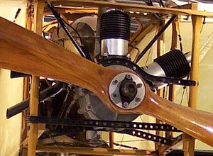 Anzani 3-cylinder fan engines - Installed replica of an Anzani 3W Motor