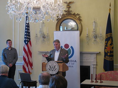 Archivist of the United States David Ferriero speaking at the Wikimedia DC Annual Membership Meeting