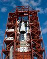 Apollo Spacecraft 012 hoisted to top of gantry at Pad 34.jpg