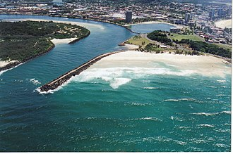 Tweed River (New South Wales) - View of Tweed River mouth and Duranbah Beach.