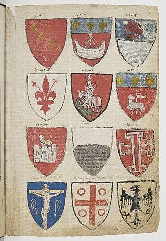 Occitan cross - Image: Armorial de Gilles Le Bouvier BNF Fr 4985 f 21r
