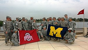 2009 Michigan Wolverines football team - United States National Guard soldiers show that the Michigan-Ohio State rivalry reaches far and wide. (2009-11-16)