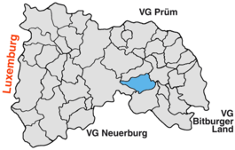 Location of Lauperath in the Verbandsgemeinde Arzfeld