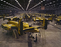 Assembling B-25 bombers at North American Aviation, Kansas City, Kansas.jpg