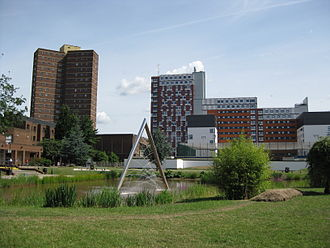 Aston University - The Chancellor's Lake at the heart of the campus with triangular fountain, 2010.