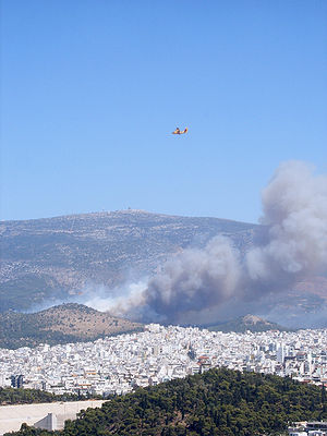 2007 Greek forest fires - Smoke seen from the Acropolis, Athens.