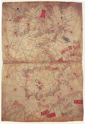 Rhumbline network -  Portolan by Petrus Vescomte