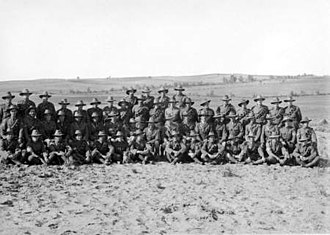 Auckland Mounted Rifles Regiment - November 1918 picture of officers, NCOs, and men of the regiment, the survivors of those who enlisted in 1914