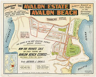 Avalon Beach, New South Wales - Image: Avalon Beach Estates, Central Rd, Plateau Rd, 1921 1926