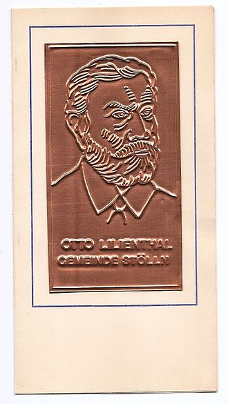 Otto Lilienthal - Bronze plaque medal of Stölln, where Lilienthal had his fatal accident