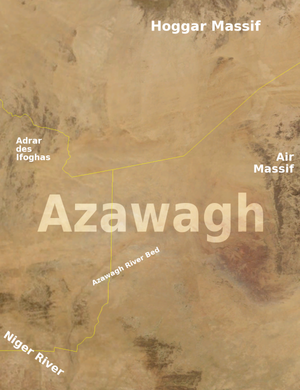 Azawagh - The Azawagh basin and surrounding geographical features, as seen from space. The yellow lines indicate international borders.