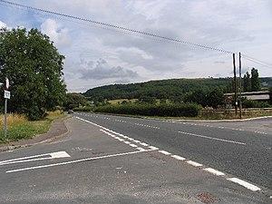 English: B4632 from Shaw Green Lane. The B4632...