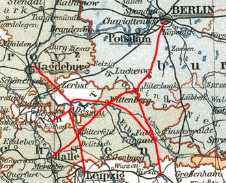 Berlin-Anhalt Railway Company - The railway network of the Berlin-Anhaltische Eisenbahn-Gesellschaft around 1875