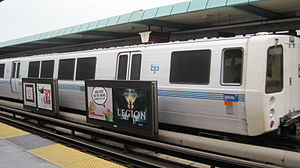 West Oakland station - A BART train at West Oakland Station