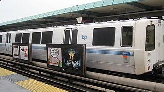West Oakland station - A BART train at West Oakland Station