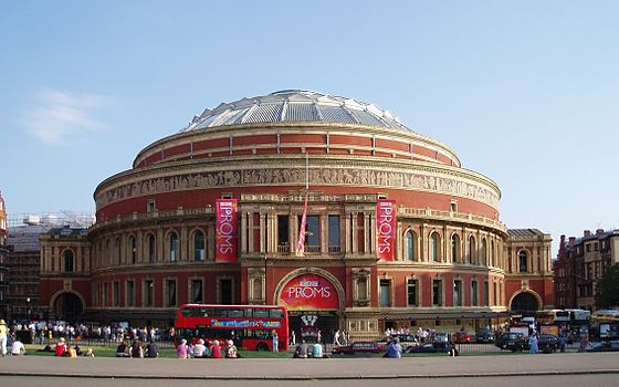 Outside the Royal Albert Hall during the BBC Proms season of 2008 BBC Proms at the Royal Albert Hall -26July2008-2rpc.jpg