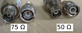 BNC connector - BNC connectors. From left to right: 75 Ω female, 75 Ω male, 50 Ω female, 50 Ω male.