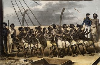 Jules Dumont d'Urville - Māori men and women on board Astrolabe performing a dance, with a French officer at right.