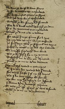 "A handwritten manuscript of 24 lines with a signature below, only the word ""Chaucer"" in the signature line is easily legible."
