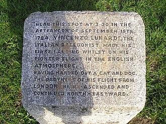Vincenzo Lunardi - Balloon Corner, Welham Green. A stone commemorating the brief landing of the first (hydrogen) balloon flight in England.