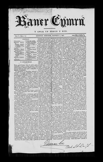 Thomas Gee - Front page of one of Gee's main newspapers: Baner Cymru