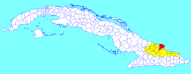 Banes municipality (red) within  Holguín Province (yellow) and Cuba