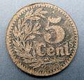 Banque D'Emission de Lille - 5 Cent - 1915 Emergency Coinage.jpg