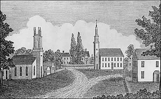 Bethlehem, Connecticut - View of the center of Bethlehem by John Warner Barber (published 1836), said to be the earliest depiction of the town.