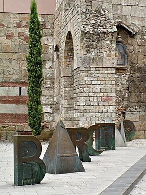 """Joan Brossa - """"Joan Brossa: Barcino"""" (the ancient Roman name for Barcelona), by the wall ruins near the Cathedral of Barcelona"""