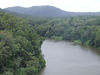 Barron River (Queensland) - The reservoir of the Barron River behind the hydro-electro dam above the Barron Falls as viewed from a Skyrail gondola heading to Kuranda station.