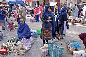 Bartering at the local market, Pátzcuaro, Mich...