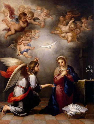 Angel Gabriel's Annunciation to Mary, by Murillo, c. 1655 Bartolome Esteban Perez Murillo 023.jpg